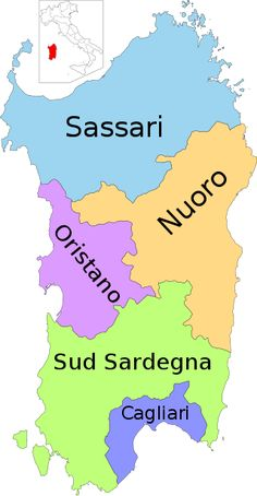 File:Map of region of Sardinia, Italy, with provinces-it (as of Costa Rei, Italy Map, Regions Of Italy, Italian Language, Exotic Places, Mediterranean Sea, Corsica, Places Around The World, Travel Advice