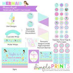 Mermaid Printable Birthday Deluxe Package - Dimple Prints Shop