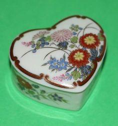Shibata Japan Ceramic Floral Heart Shaped Ring Jewelry Trinket Box Gift