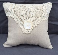 Shabby Chic Linen Pillow with Vintage Doily by JuniperHillAntiques Crochet Cushions, Sewing Pillows, Diy Pillows, Linen Pillows, Decorative Pillows, Throw Pillows, Pin Cushions, Doilies Crafts, Lace Doilies