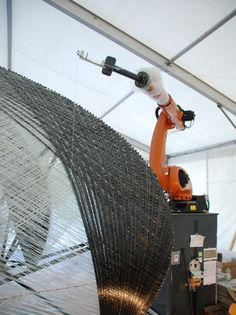 robotically fabricated carbon and glass fibre pavilion by ICD + ITKE