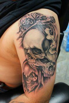 Skulls top of arm Evil Skull Tattoo, Evil Tattoos, Skull Sleeve Tattoos, Forarm Tattoos, Skull Tattoo Design, Dope Tattoos, Badass Tattoos, Tattoo Sleeve Designs, Leg Tattoos