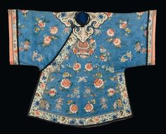 A silk embroidered dress, China, Qing Dynasty, 19th century