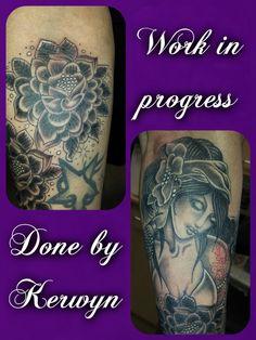 sleeve work, flower, tribal, black and grey shade, pretty, feminine, girly