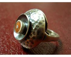 Kopułka Orno z koralem od Finger Fun, Vintage Silver Rings, Piercing Ring, Tribal Fusion, Gems Jewelry, Signet Ring, Band Rings, Jewerly, Jewels