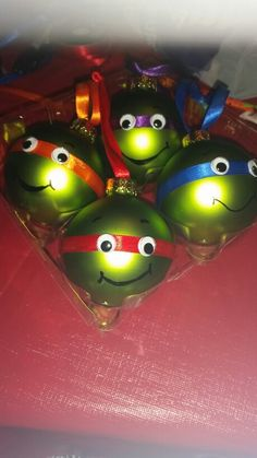 TMNT ornaments that I made tonight! I think they look awesome.