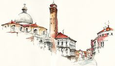 Architectural Watercolors by Sunga Park Famous places in Aquarelle painting is a project by Korean artist and illustrator Sunga Park. Sunga currently lives and works in Busan, South Korea. She started. Watercolor City, Watercolor Sketch, Watercolor Illustration, Watercolor Paintings, Watercolors, Art Paintings, Art Et Architecture, Watercolor Architecture, Chinese Architecture