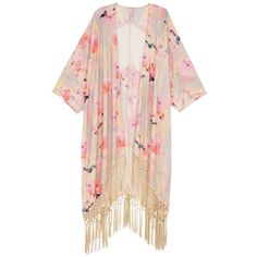 0a836b9117 Melissa Mccarthy Seven7 Plus Floral Fringe Kimono ( 118) ❤ liked on Polyvore  featuring plus