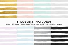 Foil & Watercolor Stripes by Summit Avenue on @creativemarket