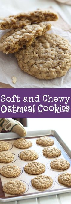 Soft and Chewy Oatmeal Cookies -an all butter oatmeal cookie that requires no refrigeration. Their taste is phenomenal and they stay soft for days! Oatmeal Cookies Without Butter, Cookie Recipe No Butter, Soft Chewy Oatmeal Cookies, Instant Oatmeal Cookies, Homemade Oatmeal Cookies, Healthy Oatmeal Cookies, Oatmeal Cookie Recipes, No Butter Cookies, Refrigerator Cookies Recipes