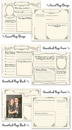Wedding Guest Book Pages | ... page design from Wedding Prediction Guestbook or Wedding Memories