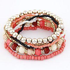 brazalete de estilo bohemio de varias filas de cuentas de las mujeres (colores surtidos)