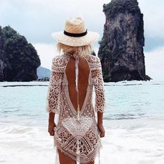 Cheap wear beach, Buy Quality s wear directly from China wearing dress Suppliers: Sexy Backless Bikini Cover Up Knitted Swimsuit Cover Up Sexy Summer Dress Crochet Beach Dress Hot Sale Hollow Beach Wear Crochet Beach Dress, Bikinis Crochet, Crochet Lace, Crochet Summer, Crochet Fabric, Bikini Cover Up, Swimsuit Cover, Swim Cover, Hippie Ibiza Style
