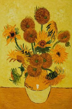 Van Gogh - Vase with Fifteen Sunflowers.  Hand painted oil painting reproductions available at overstockArt.com #art