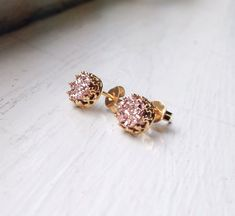 Tiny 6 mm Romantic Rose Gold Druzy - Vermil setting- Druzy studs - Druzy earrings - ROSE GOLD Stud Earrings