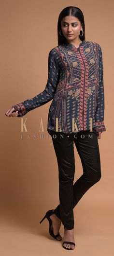 Buy Online from the link below. We ship worldwide (Free Shipping over US$100)  Click Anywhere to Tag Slate Grey Short Kurti In Crepe With Floral And Tribal Print Online - Kalki Fashion Slate grey short kurti in crepe adorned with floral and tribal print.Crafted with mandarin collar, front placket and full sleeves.Slight variation in color is possible.