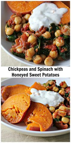 chickpeas and spinach with honeyed sweet potatoes
