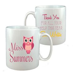 Personalized teacher tutor ceramic mug gift Mrs Owl design any name end of term leaving school nursery
