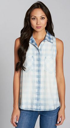 Chambray Gingham Top