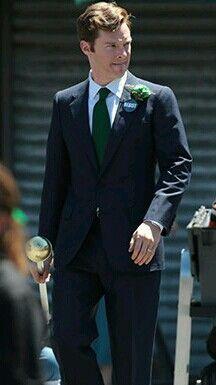 Benedict Cumberbatch filming Black Mass.