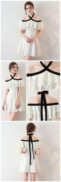 CHIC HALTER HOMECOMING DRESS SIMPLE WHITE CHEAP SHORT PROM DRESS AM060 #comovestir
