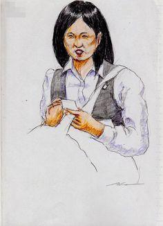 会社の制服のお姉さん(通勤電車でスケッチ)A sketch of the lady who put on a uniform of a company. It was drawn by commuter train.