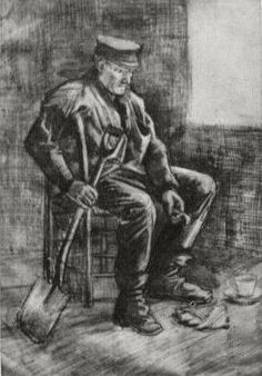 Vincent van Gogh: Workman with Spade, Sitting near the Window,  The Hague: March, 1883