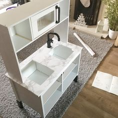 Ikea Hack: Duktig Play Kitchen Monochrome Makeover