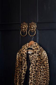 christine-dovey-pine-foyer-2-black-doors-lionhead-door-knockers-leopard-coat