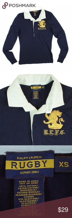 Spotted while shopping on Poshmark: RALPH LAUREN RUGBY Navy Embroidered Polo Shirt! #poshmark #fashion #shopping #style #Ralph Lauren #Tops