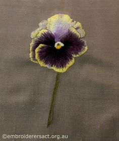 Pansy Thread Painting by Evelyn Foster - Embroiderers' Guild ACT