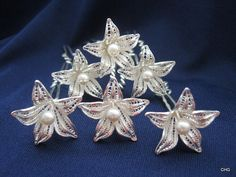 A Set of 6 Handmade Sterling Silver Filigree Hairpins by TrulyFiligree, $175.00