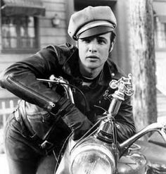 """""""What are you? Someone who makes sandwiches or somethin'?"""" -- Marlon Brando as Johnny Strabler, leader of the Black Rebels Motorcycle Club in The Wild One (1953). One of the most iconic anti-heroes in movie history."""