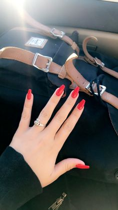 Acrylic Nails Red nails on coffin-shaped acrylic Red nails on coffin-shaped acrylic Acrylic Nail Shapes, Red Acrylic Nails, Square Acrylic Nails, Summer Acrylic Nails, Red Summer Nails, Red Gel Nails, Spring Nails, Aycrlic Nails, Prom Nails