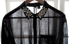 black sheer shirt, studded collar.