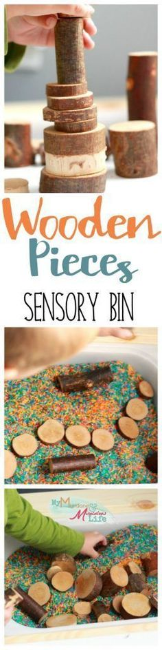 My Mundane and Miraculous Life made this sensory bin with two simple resources! Bark-covered wooden pieces and colorful rice will keep your sensory child engaged for hours! Whether your sensory child merely runs their fingers through the rice or builds an amazing structure with the wooden pieces, they are sure to have a wonderful sensory experience with this great sensory bin!