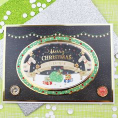 Card created using Hunkydory Crafts' Jingle All The Way Topper Set from the A Cuddly Christmas Topper Collection