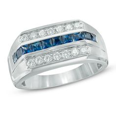 Men's Princess-Cut Blue Sapphire and 3/8 CT. T.W. Diamond Ring in 14K White Gold - Clearance - Zales