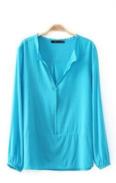 Blue V-neck Loose Cotton Long Sleeve Blouse