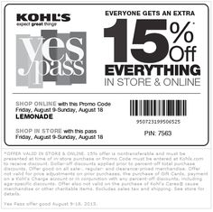 Pinned August 9th: 15% off everything at Kohls, or online via promo code #LEMONADE #coupon via The Coupons App