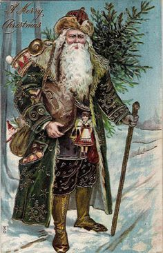 Vintage Christmas Card I love Old World Santa's! Is that father Christmas or Sana? I've never really understood the difference :) Vintage Christmas Images, Old Christmas, Old Fashioned Christmas, Victorian Christmas, Father Christmas, Vintage Holiday, Christmas Pictures, Christmas Postcards, Christmas Trees