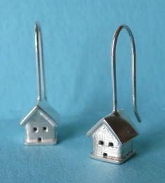 Tiny House Silver Earrings