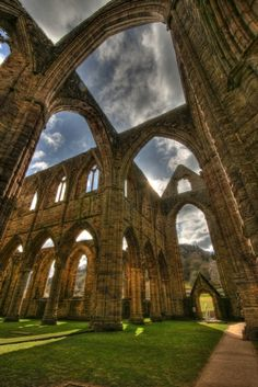 Tintern Abbey in Wales--I love that in England and Wales they celibrate their ruins with manacured gardens.