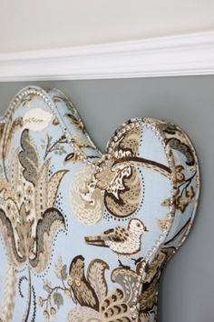 love this fabric.  Headboard, Sarah Richardson