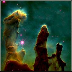 Pillars of Creation in a Star-Forming Region