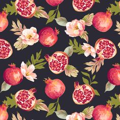 cute pattern of vintage pomegranate in black chalkboard backround. Lovely on products and great for all who love the good old time. <br/> <br/> pomegranate, pattern, fruit, background...