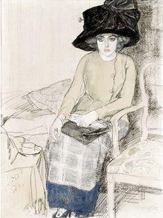 Leo Gestel, Elegant lady with a hat smoking a cigarette