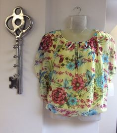 Yellow flower print balloon style top £44.95 could be worn with jeans for a casual look or a black pencil skirt for the smart casual look... FREE DELIVERY!