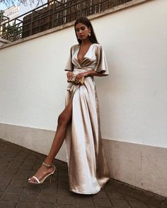 A-Line Deep V-Neck Cheap Modest Satin Evening Prom Dress with Split, A-Line Deep V-Neck Cheap Modest Satin Evening Prom Dress with Split, A-line tiefem V-Ausschnitt billig bescheidenen Satin Abendkleid mit Split, Prom Dresses With Sleeves, Grad Dresses, Trendy Dresses, Ball Dresses, Elegant Dresses, Beautiful Dresses, Fashion Dresses, Bridesmaid Dresses, Prom Dresses Silk