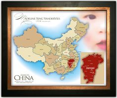 Beautiful China Adoption Print Customized with Chid's Name, Photo, and Province 16x20. $49.00, via Etsy.